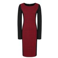 Autumn and winter brief elegant slim all-match plus size ol woolen plaid woolen patchwork pencil skirt fashion one-piece dress