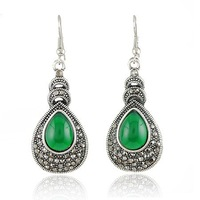 Europe and USA restore ancient ways imitation Thai silver drop gemstone earrings  free shipping RuYiEH016-1