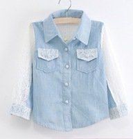 Baby T shirt kids Girls long sleeve blouse t shirt lace denim 2962 tee shirts 0104 B jxx
