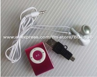 wholesale 5pcs/lot, MINI Clip MP3 Player with card slot +Earphone +mini usb cable,Support top8GB MicroTF card free shipping