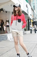 Min.order $15(mix order)2012 hot sale women lady Stripe splicing pocket leisure hooded jacket 2 color s642 Free shipping