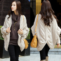 Free Shipping Shell Shaped Outerwear Twisted Thick Wool Batwing Sleeve Irregular Sweep Cardigan Sweater Wraps/Cape