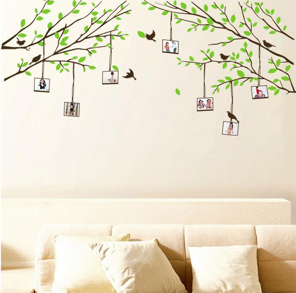Free Shipping Green Tree Photo Frame DIY Wall Art Large Background JM Largest Sticker Home Decoration 260*100CMcm(China (Mainland))