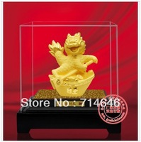 Free Shipping Fashion L025 Chinese  Gold Dragon statue figure & 24K gold plated  business persent & Metal trinket