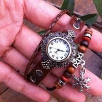 10pcs/lot (mix order)Vintage Bronze Genuine leather beads Snow Pendant Punk Bohemian wrist watch women students girls gifts M009