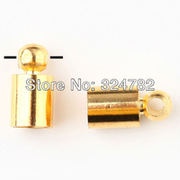 Free shipping 5x10mm 200pcs gold plated Barrel Bead Leather Cord ends caps,Rhodium Copper End Tip Crimp Beads Jewelry findings