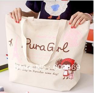 Creative household han edition fashionable shoulder canvas bag big outdoor environmental protection shopping bag of 13228