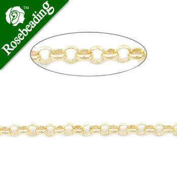 3.2MM Brass 14K Gold Plated Rolo Chain,Handmade,Sold 25 Meters Per Roll