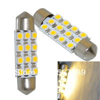 "2pcs/lot  39mm 1.55"" Warm White 12 SMD 3528 C5W LED Dome Festoon Light Bulb 6413 6418 New for sample free shipping"