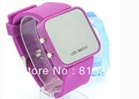 2013 Free Shipping Korea LED Watch Square Electronic Watch Mirror Jelly Waterproof Digital Watch
