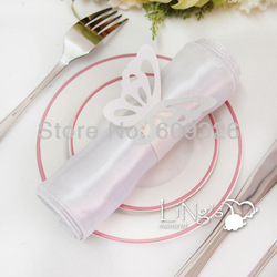50pcs White Butterfly Paper Napkin Rings Free Shipping(Hong Kong)