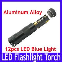 Free shipping Aluminum alloy led flashlight torch \12pcs blue light LED torch lamp ,MOQ=1