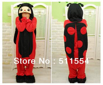 Free Shipping FACTORY SALES ! Cosplay Costume Kigurumi Pajamas Ladybug Animal Pajamas Winter Fleece Sleepwear for Women/men