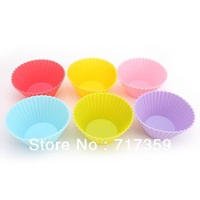 30pcs /Lot, DIY Free Shipping Wholesale 7cm Silicone Cake Mold/Cupcake Mold /Baking Mould Bakeware  6Colors  670045