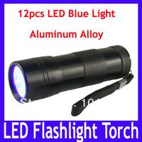 Free shipping Aluminum alloy led flashlight torch,Mini Torch Flashlight Lamp with 12 LED blue light,10pcs/lot