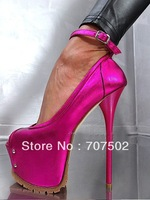 16cm sandals Peep toe high heel shoes !designer Belt buckle and spike platform shoes for women