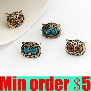 Vintage Owl Stud Earrings Rhinestone Eyes Owl Earrings Retro Earrings Free Shipping