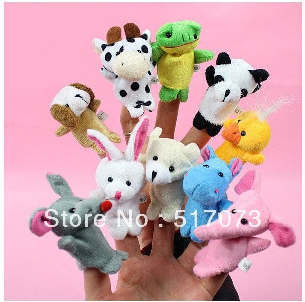 Free shipping 10 x puppets New Finger Set Animal Puppet Set Soft Cute Toy children's Learn Play Story(China (Mainland))