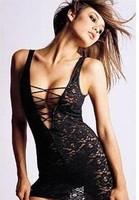 Sexy Black Lace Dress Lingerie+G String Set S9460 One Size Sleepwear,Underwear ,Uniform ,Kimono Costume