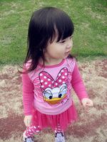 2013 Newest Design Cute Girls Summer Clothing Cartoon Donald Duck Soft Wear Fashion Baby Girl Sweet T-shirt + Tutu Pant 2Pcs Set