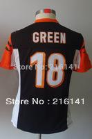 Free/Fast Shipping, Sewn On #18 A J Green Women's Game Team Black Football Jerseys.Size:S,M,L,XL,XXL.Accept Drop Shipping.