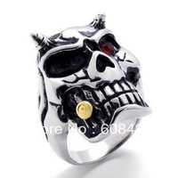 Free shipping hot selling red stone eye skull scull gothic finger ring for man boy guy punk
