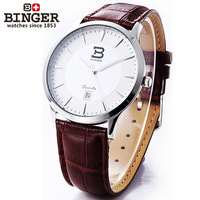 Binger accusative watch male watch stainless steel mens watch ultra-thin thin series brown strap flour male