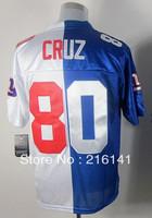 Free/Fast Shipping,Sewn On #80 Victor Cruz White-Blue Split Elite Jerseys,Size 40,44,48,52,56.Accept Drop Shipping.