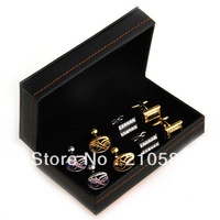 Superior Quality Gift Pack Case 4 pair/lot Black Synthetic Leather Cufflinks Box Cuff link Mens Jewelry Boxes