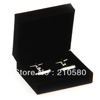 High Quality Black Flannelette 1 pair/lot Cufflinks Box Cuff link Mens Jewelry Boxes Accessories Gift Pack Case