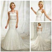 Free  ShippingIvory Lace Sleeveless Mermaid Style Long 2013 Illusion Neckline Wedding Dresses