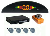 4 Parking Sensors 12V LED Display Car Reverse Radar Kit Silver