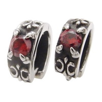One Pair of 316L Men's Silver Ruby Red CZ Stainless Steel Huggie Earrings, Free shipping,E#026