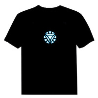 Iron Man,Tony Stark Light up LED Iron Man Shirt,LED Light T Shirt Shirts Flashing EL Equalizer T-Shirt Free Shipping