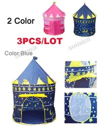 3set/Lot Wholesale Sunmmer Pink Blue Portable Childern Baby's Tent Playing Indoor&Outdoor Baby's Palace Tent Castle 7378(China (Mainland))