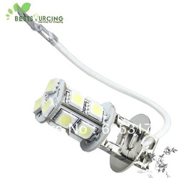 Free shipping+2pcs H3 13 SMD 5050 White Fog Parking Signal 13 LED Car Light Bulb Lamp Taillights Headlight(China (Mainland))