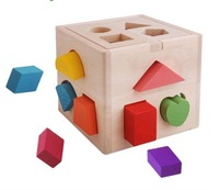 Colorful Wooden Toy Children Intellect Box 13 Different Shapes of Holes Matching Game Free Shipping