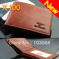 2013 New Genuine Leather Men Wallet Purse Brown Wholesale Lots Of 100 Free EMS / DHL Shipping