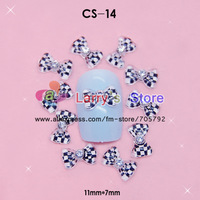 Freeship 11*7mm 100 Pcs/lot Polka Dot Leopard Bow with Diamond acrylic nails accessories 3D nail art decoration Wholesale CS-14