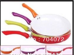 Wholesale-free shipping 1 pc 26cm ceramic pan ceramic coating inside open frying pan,4 colors fry pan FDA ,with free gift(China (Mainland))