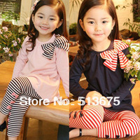 Free shipping Hot sale 2013 autumn girl's clothing long design t-shirt stripe legging children set girl clothes popular