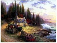 Thomas kinkade Art Oil Painting Repro-A Quiet Garden City(no Framed)