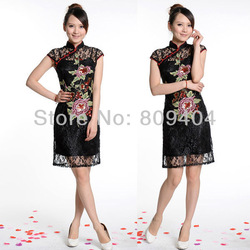 Cheongsam Dress Sunlun Free Shipping Ladies' Handmade Embroidery Upscale Lace Cheongsam Women Dress SCW-16001(China (Mainland))