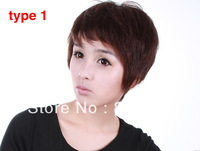 high quality 100% real human hair material, 2 colors ,4 types  lady short wavy hair. free shipping