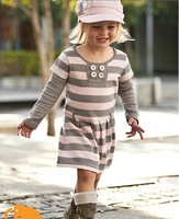 QZ-252,Free Shipping! top quality baby dresses girl pink striped long sleeve dress autumn children garment Wholesale And Retail