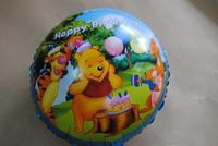 "PT0038 Happy Birthday Winnie Bear Cartoon Foil Mylar Balloon, Party Favors, 17"" inch 10pcs/lot, free shipping"