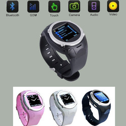 Free Shipping Unlocked Touch Screen Quad-bands GSM Watch Cell Phone Bluetooth Mobile Camera MQ998+Free 4GB TF Card(China (Mainland))