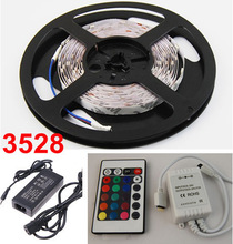 3528 flexible RGB LED strip full set cheap price 60pcs/Meter IP65 LED strip +IR controller+12V adapter +Free shipping(China (Mainland))