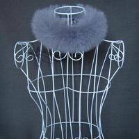 Women's autumn and winter thermal fur full leather fox fur muffler scarf small scarf Women fox fur collar grey