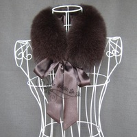 New Fashion Fur  real fur  long bandeaus square  fox fur  solid color   circled Collar Scarf